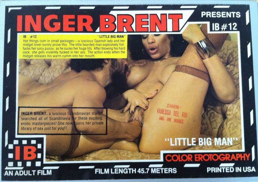 box cover art for film version of Little Big Man starring Vanessa Del Rio in fisting scene with black dwarf
