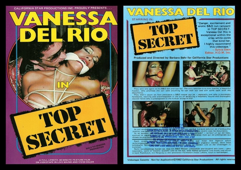 Top Secret VHS bondage movie with Vanessa Del Rio