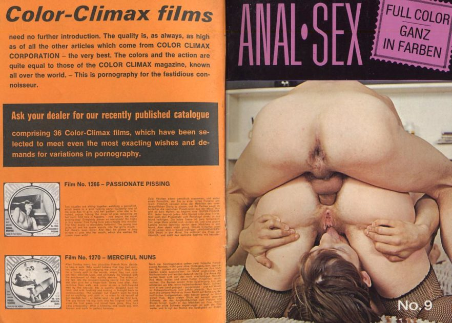 Color Climax porn magazine front and back covers from Denmark, 1974