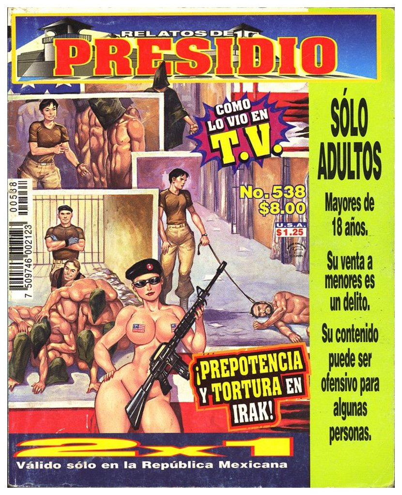abu ghraib torture prison pulp art as seen on cover of a mexican pulp magazine