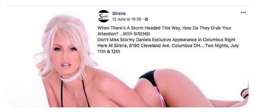 stormy daniels ohio sirens strip club appearance advertisement
