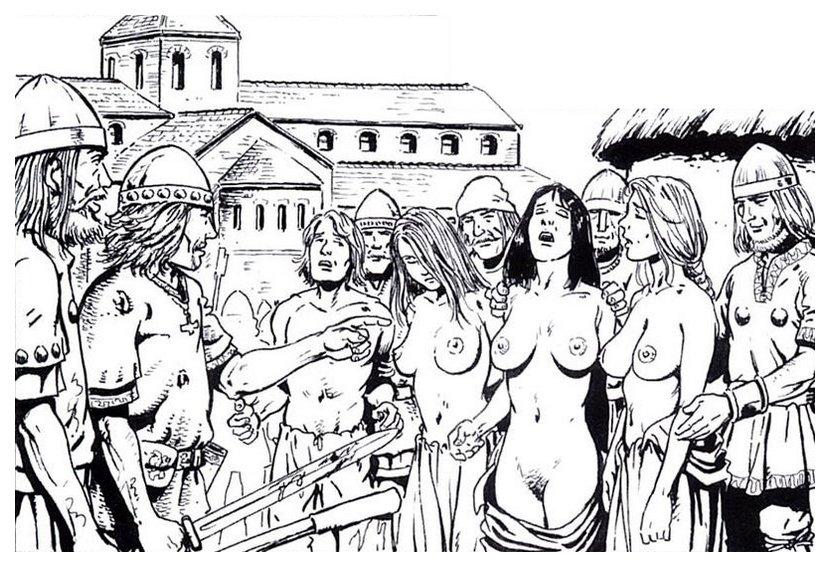 large group of female viking slave captives