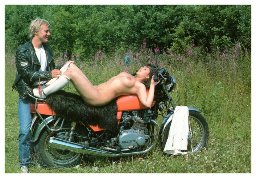 dude has shag carpet on his motorcycle seat -- or is that a buffalo hide?