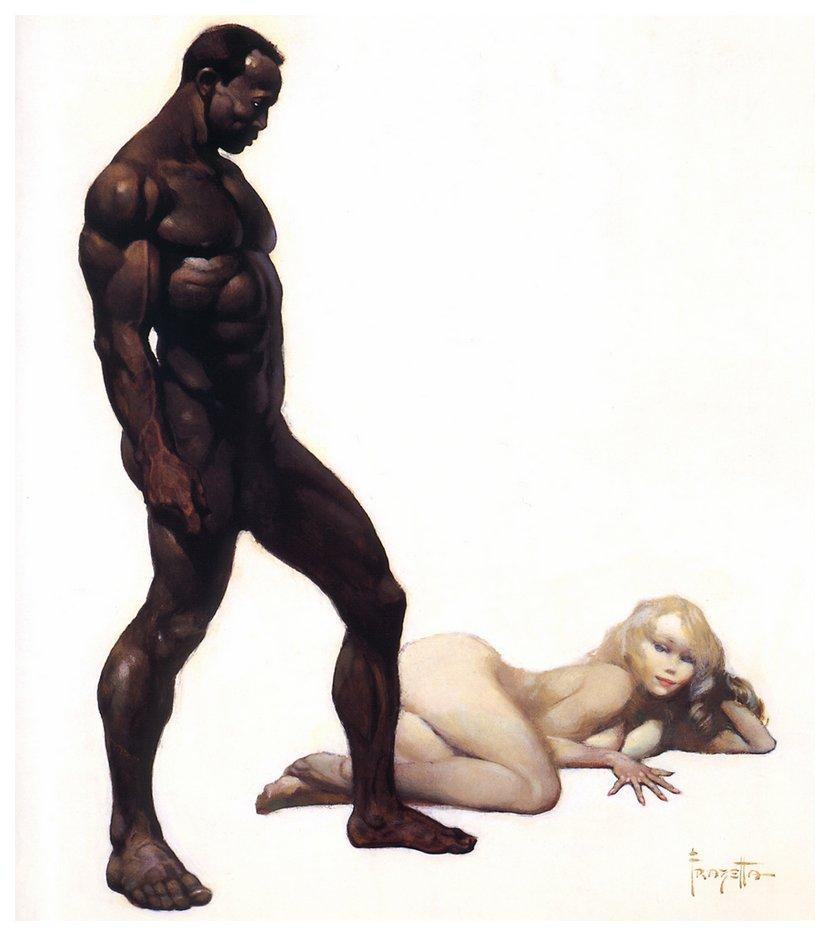 imperador negro prestes a foder uma garota branca